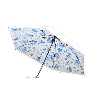 UVION (ユビオン) プレミアム ホワイト 日傘 UVカット マイナス10度 折りたたみ 傘 晴雨兼用 超軽量 コンパクト 花柄 ネージ