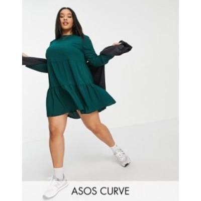 エイソス レディース ワンピース トップス ASOS DESIGN Curve long sleeve tiered smock mini dress in forest green Forest green