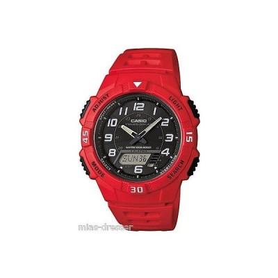 カシオ 腕時計  Casio メンズ AQ-S800W-4B レッド Tough ソーラー 100M LED World Time スポーツ 腕時計
