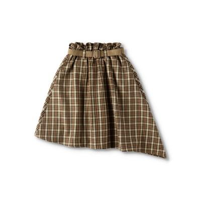 【branshes】ベルト付きチェック柄スカート