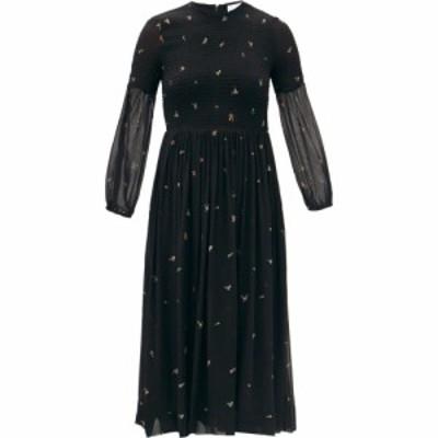 ガニー Ganni レディース ワンピース ミドル丈 ワンピース・ドレス Smocked floral-print georgette midi dress Black