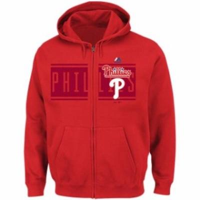 Majestic マジェスティック スポーツ用品  Majestic Philadelphia Phillies Red Piercing Attack Full-Zip Hoodie