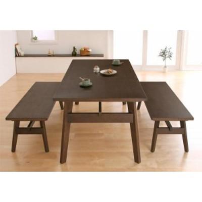 天然木北欧スタイル ソファダイニング Milka ミルカ 3点セット(Aタイプ)テーブル+ベンチ×2 テーブル ダイニングテーブル  【送料無料  3