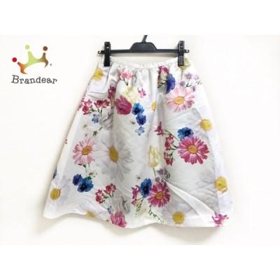 チェスティ Chesty スカート サイズ1 S レディース 美品 白×ピンク×マルチ 花柄   スペシャル特価 20200923
