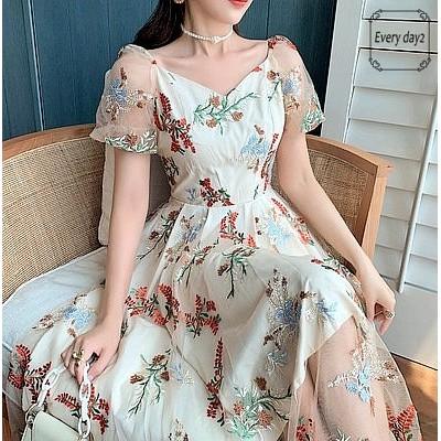 韓国ファッション2021夏刺繍ワンピース 結婚式 女子会 発表会 二次会  ドレス お呼ばれ パーティー セレブ 女優 同窓会 お茶会 オフィス OL 普段着202474