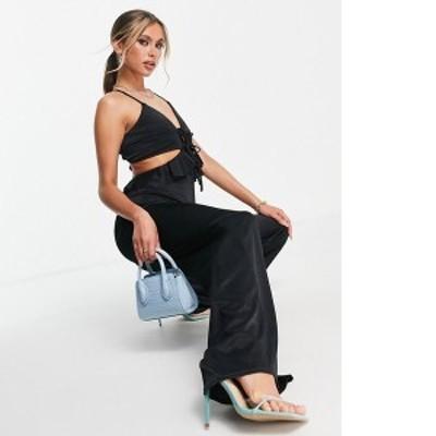 エイソス レディース ワンピース トップス ASOS DESIGN glam strappy cut out satin frill jumpsuit in black Black