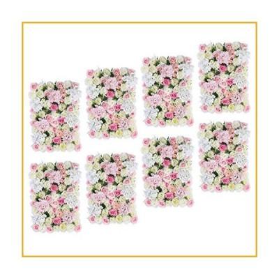 joyMerit 8Pcs Upscale Artificial Flower Wall Panels Wedding Venue Flower Backdrops Background Pillar Main Road Decor, Pink White【並行輸