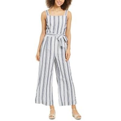 チャータークラブ レディース カジュアルパンツ ボトムス Striped Belted Jumpsuit Intrepid Blue Stripe