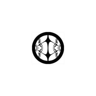家紋シール 割り木瓜紋 直径4cm 丸型 白紋 4枚セット KS44M-0380W