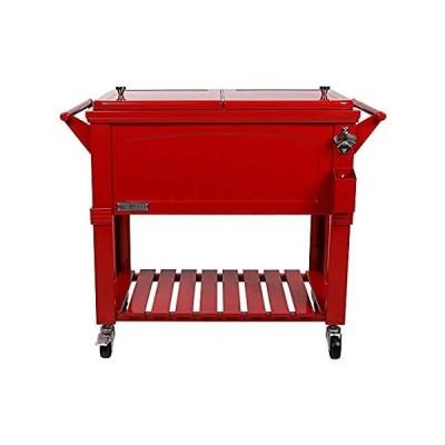 送料無料 Permasteel PS-A203 F1-RD 80 Quart Portable Rolling Patio Cooler, Red