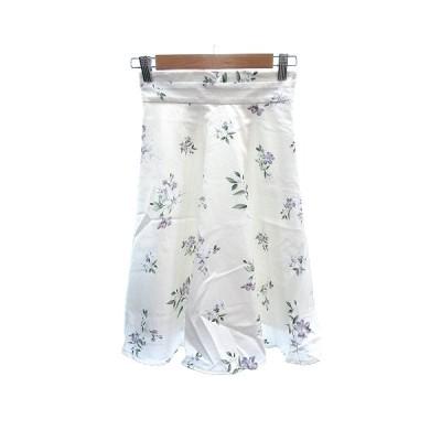 【中古】ミッシュマッシュ MISCH MASCH フレアスカート ミモレ ロング 花柄 36 白 ホワイト /AU レディース 【ベクトル 古着】