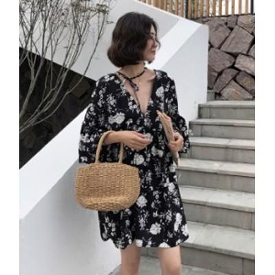 チュニック ワンピース ミニ丈 花柄 はな柄 黒 七分袖 秋物 冬物 最新 レディース ファッション 2020 人気 可愛い 大人