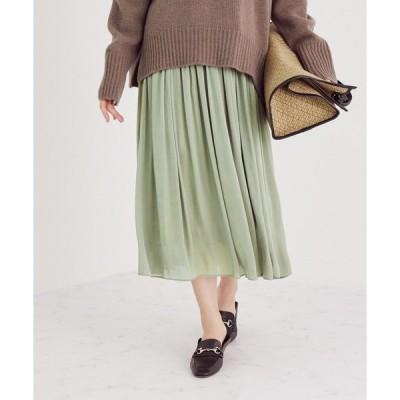 スカート グロッシー楊柳ギャザースカート