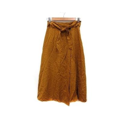 【中古】サロン SALON ラップスカート フレア ミモレ ロング M 茶 ブラウン /MN レディース 【ベクトル 古着】