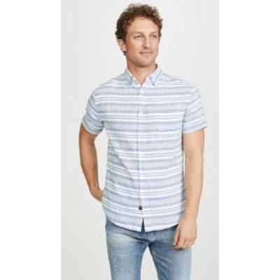 レイルズ RAILS メンズ 半袖シャツ トップス Carson Short Sleeve Shirt Sea White Stripe