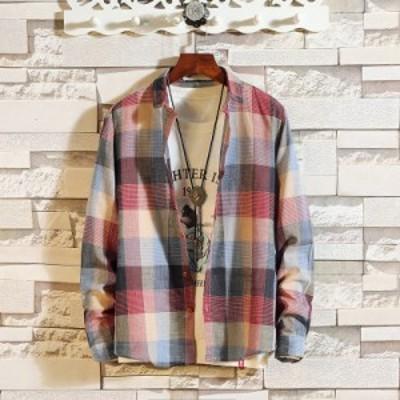 シャツ メンズ チェック柄 ネルシャツ スリム ボタンダウン カジュアル 春秋 おしゃれ 服 長袖 折襟 大きいサイズあり 2色