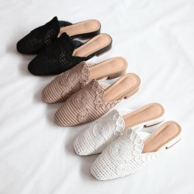 サンダル レディース フラット バブーシュ ぺたんこ ペタンコ ブラック ホワイト ブラウン 靴 婦人靴