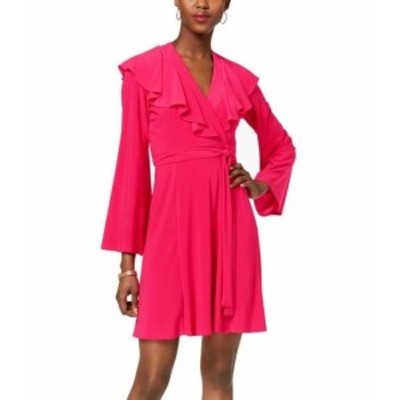 taylor テイラー ファッション ドレス Taylor Deep Pink Womens Size 4 Ruffled Bell-Sleeve Jersey Wrap Dress
