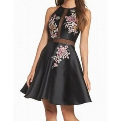 ファッション ドレス Xscape NEW Black Floral Embroidered Mesh Rhinestone 2 A-Line Dress
