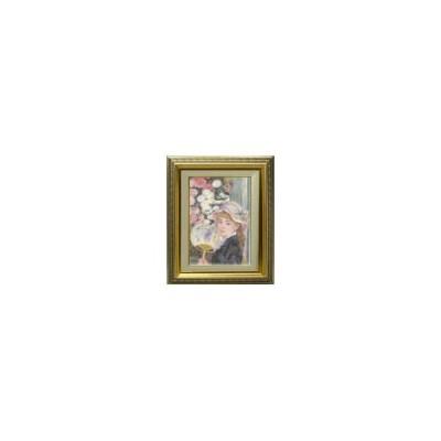 ルノワール 団扇を持つ少女 F4  【油絵 直筆 複製画】【ガラス板額縁付】 絵画 販売 (ルノアール) 4号 油彩 人物画 477×387mm 送料無料