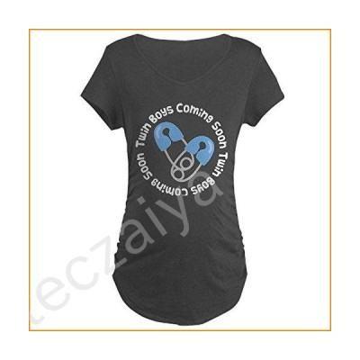 CafePress Twin Boy Maternity Quote Maternity Dark T Shirt Cotton Maternity T-Shirt, Side Ruched Scoop Neck Charcoal【並行輸入品】