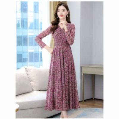 ドレス ロングドレス ロングワンピース  大きいサイズ  Vネック カシュクール 花柄 シンプル  ロング丈 レディース