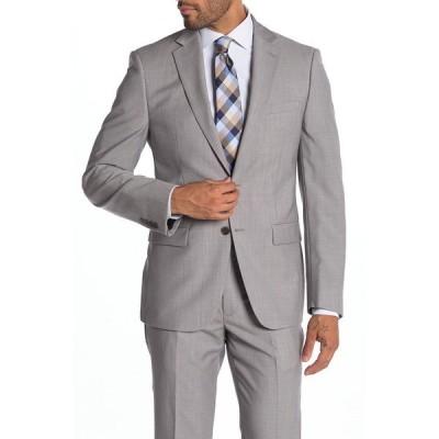 カルバンクライン メンズ ジャケット&ブルゾン アウター Malbin Two Button Notch Collar Slim Fit Wool Suit Separates Jacket LIGHT GREY