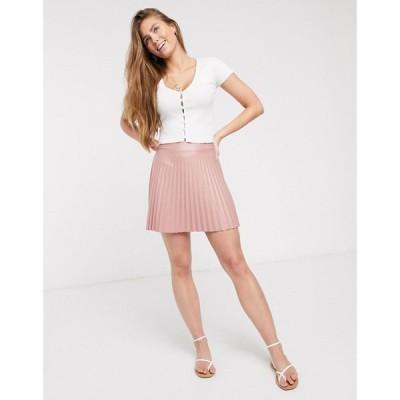 エイソス ASOS DESIGN レディース ミニスカート スカート leather look pleated mini skirt in pink ピンク