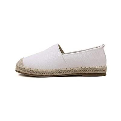 [TIOSEBON] HuKe スリッポン レディース メンズ シューズ 靴 ローファー ウオーキングシューズ (ホワイト 24.0 cm)