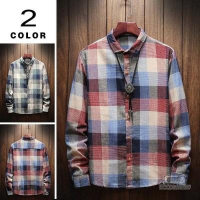 チェックシャツ カジュアルシャツ 秋物 メンズ シャツ 長袖 スリム 配色 チェック柄 メンズファッション 敬老の日