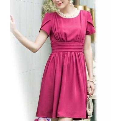ドレス ウエスト切り替えフレアスカート半袖ミニパーティードレス