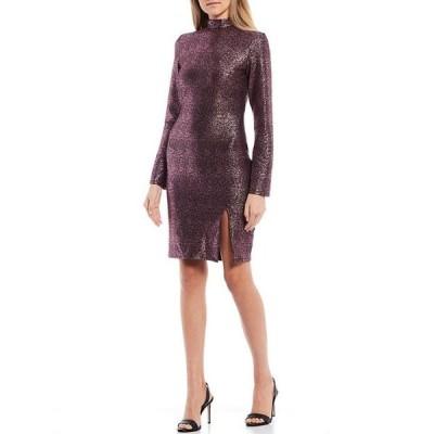 シティヴァイブ レディース ワンピース トップス Long-Sleeve Mock-Neck Foil Knit Sheath Dress