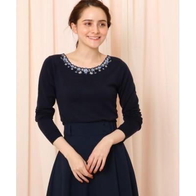 【クチュールブローチ】 パンジー刺繍プルオーバー レディース ネイビー 38(M) Couture Brooch