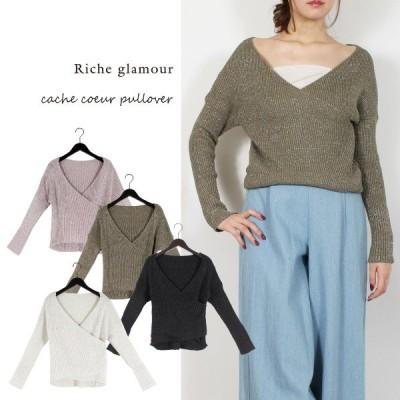 【Riche glamour】カシュクールリブ プルオーバー ラベンダー M 27115LV