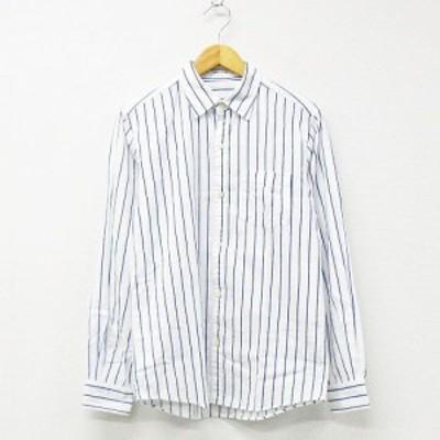 【中古】アーバンリサーチ URBAN RESEARCH シャツ トップス 長袖 ストライプ コットン 白 濃青 40 メンズ