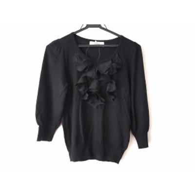 ティビ tibi 七分袖セーター サイズ2 S レディース 黒 フリル【中古】20200305