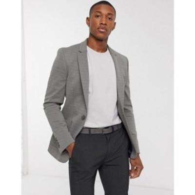 エイソス ASOS DESIGN メンズ スーツ・ジャケット アウター super skinny pique jersey blazer in grey グリーン