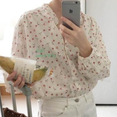 小花柄ブラウス レディース ブラウス 花柄ブラウス 長袖 おでかけ 小花柄 デート シフォン生地 大人可愛い 夏服 ノーカラー 夏物 かわいい オシャレ フラワー