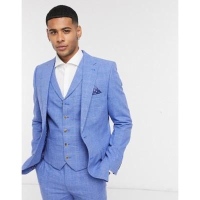 ハリー ブラウン メンズ ジャケット・ブルゾン アウター Harry Brown blue linen checked slim fit suit jacket