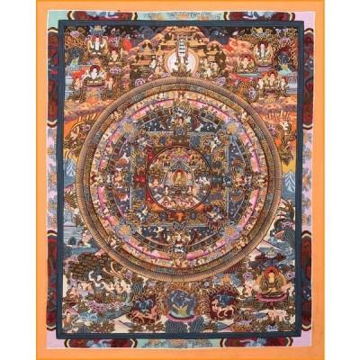 送料無料 釈迦如来 タンカ 仏画 マンダラ 〔一点物〕タンカ 釈迦如来マンダラ 56x44cm チベット 曼荼羅 手描き