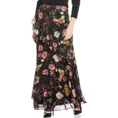 エリザジェイ レディース スカート ボトムス Asymmetrical Floral Print Tier Ruffle Chiffon Maxi Skirt