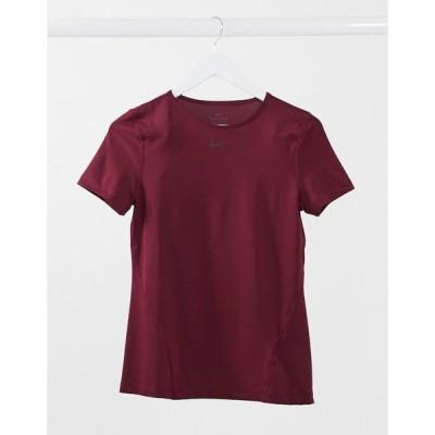 ナイキ Nike Training レディース Tシャツ トップス Pro mesh t-shirt in red レッド