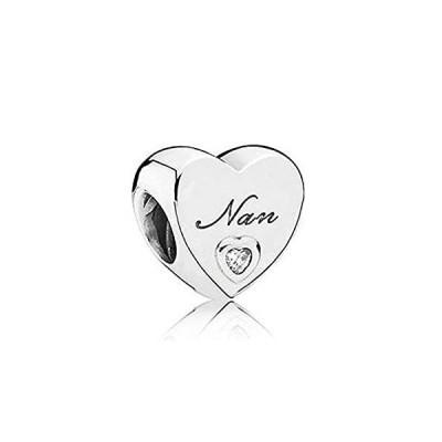 Romántico Amor Heart Love Nana Charm Grandma Family Silver Clear CZ Bead fi