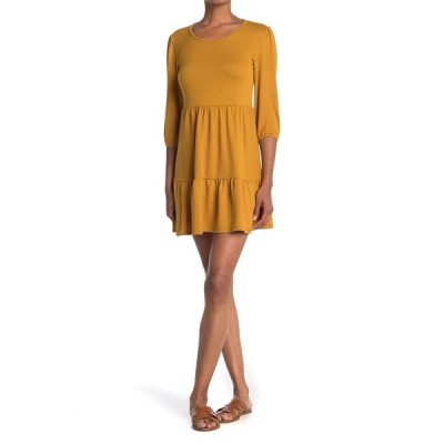 マックス アンド アッシュ レディース ワンピース トップス Scoop Neck Tiered Mini Dress COGNAC