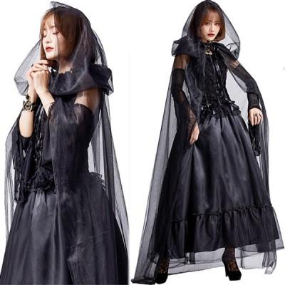 コスプレ ハロウィン 吸血鬼  魔女 コスプレ衣装 巫女 ロング 演出服 魔法使い