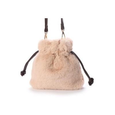 ヴィータフェリーチェ VitaFelice ファーバッグ ファーショルダーバッグ ミニショルダーバッグ 巾着バッグ (BEIGE)