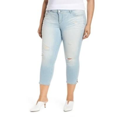 スリンクジーンズ レディース カジュアルパンツ ボトムス Distress Crop Skinny Jeans (Plus Size) JENNA