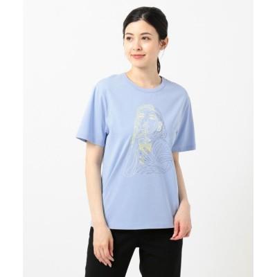 【ICB(大きいサイズ)】 Collabo Tシャツ レディース ブルー系1 L ICB(LARGE SIZE)