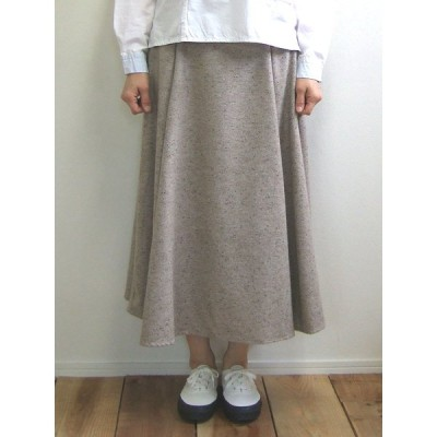 Hunch ロングフレアスカート ジャズネップ シルク混 ベージュ Long flare skirt ロングスカート WQN3576