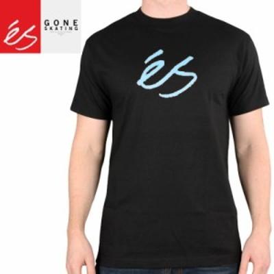 エススケートボード ES FOOTWEAR スケボー Tシャツ SCRIPT MID TEE ブラック×ブルー NO34